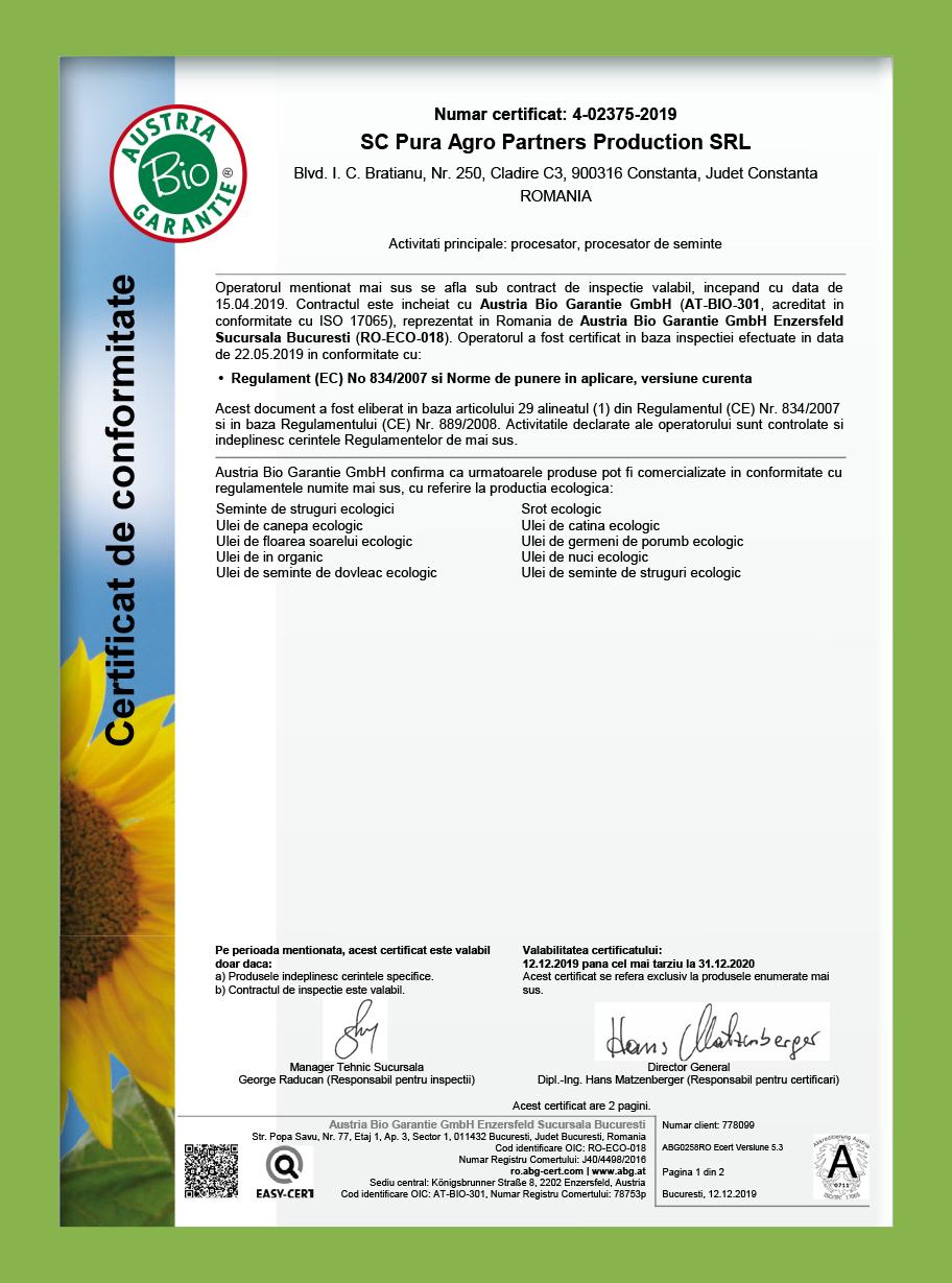 Certificare Pura Agro