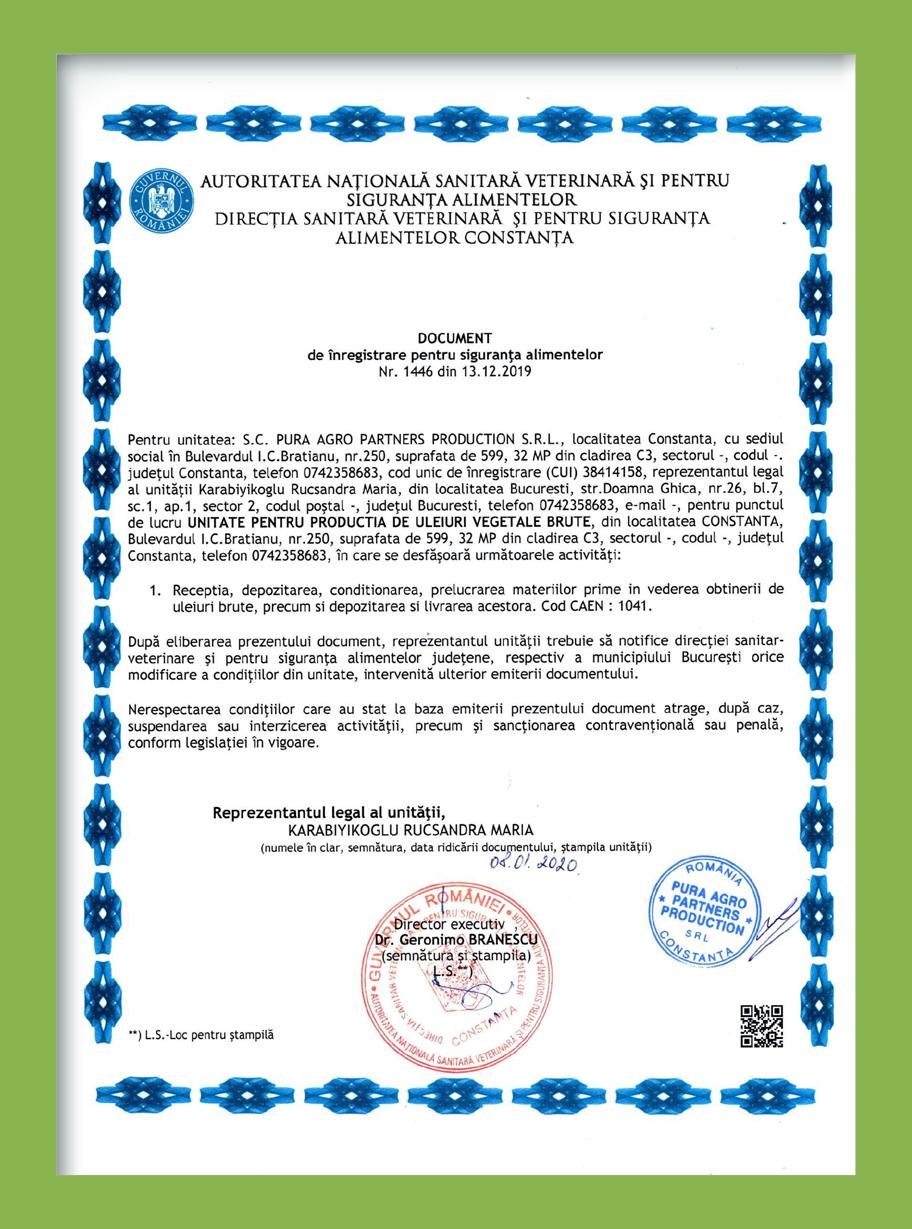 Certificat DSV - Pura Agro